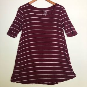 Maroon and white striped tunic tee- SO brand
